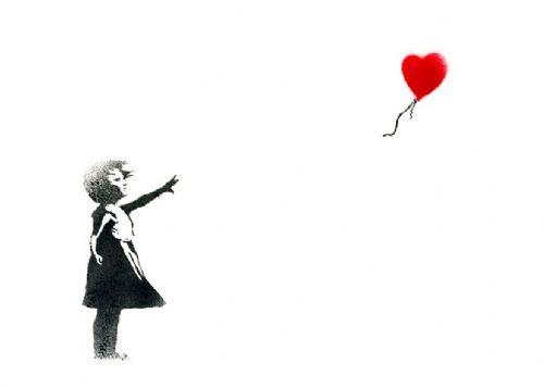 BANKSY - Balloon girl white fade canvas print - self adhesive poster - photo print